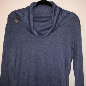 Blue  long sleeved cowl neck shirt